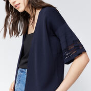 Warehouse, POINTELLE FLUTED CUFF CARDI Navy 4