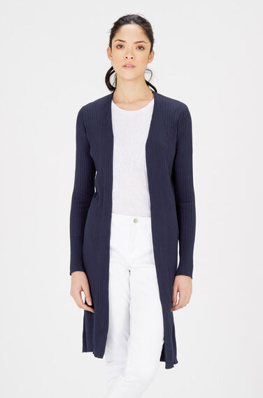 Warehouse, SLIM RIB SPLIT SIDE CARDI Navy 0