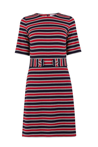 Warehouse, CAVALRY STRIPE PONTE DRESS Blue Stripe 0