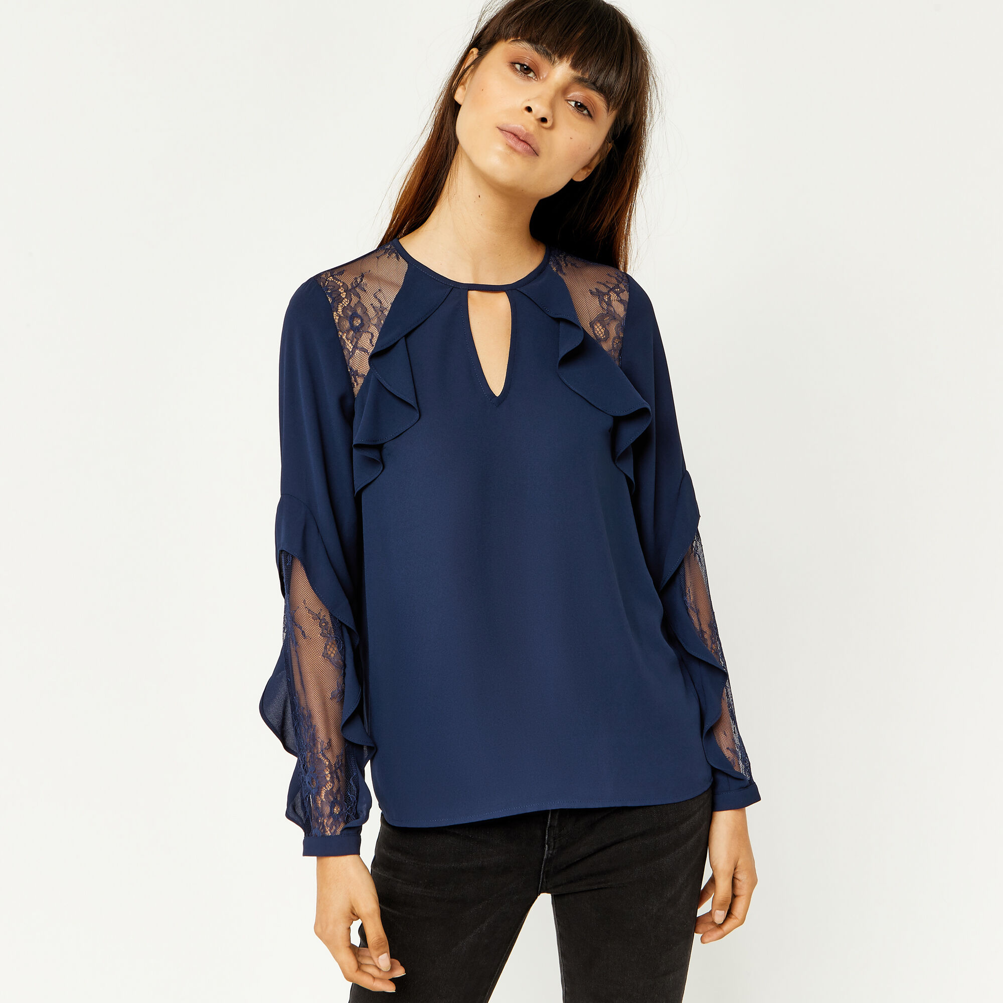 Warehouse, RUFFLE LACE MIX TOP Navy 1
