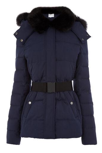 Warehouse, Short Panel Belted Wadded Coat Navy 0