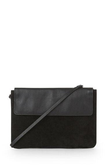 Warehouse, Double Gusset Cross Body Bag Black 0
