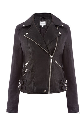 Warehouse, Faux Leather Biker Black 0