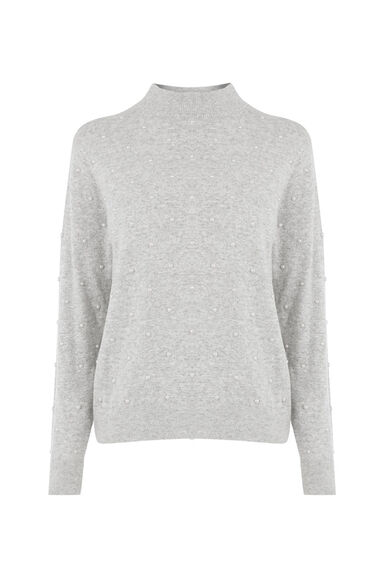 Warehouse, PEARL HIGH NECK JUMPER Light Grey 0