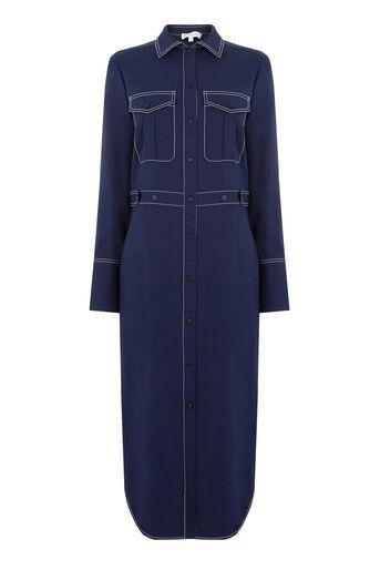 Warehouse, TOP STITCH SHIRT DRESS Navy 0