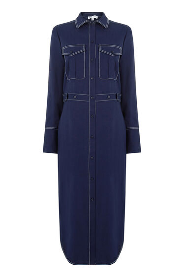 Warehouse, TOP STITCH SHIRT DRESS Navy 0