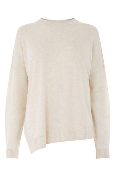 Warehouse, DISPLACED BOXY HEM JUMPER Stone 0