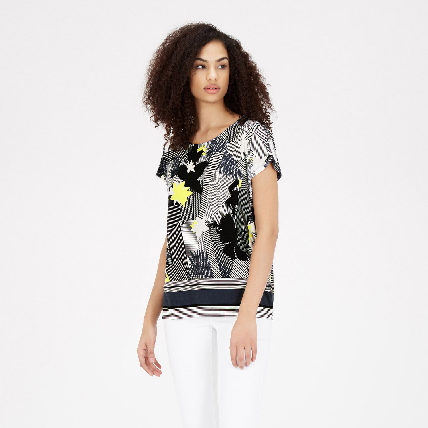 Warehouse, ABSTRACT STRIPE FLORAL TOP Multi 1