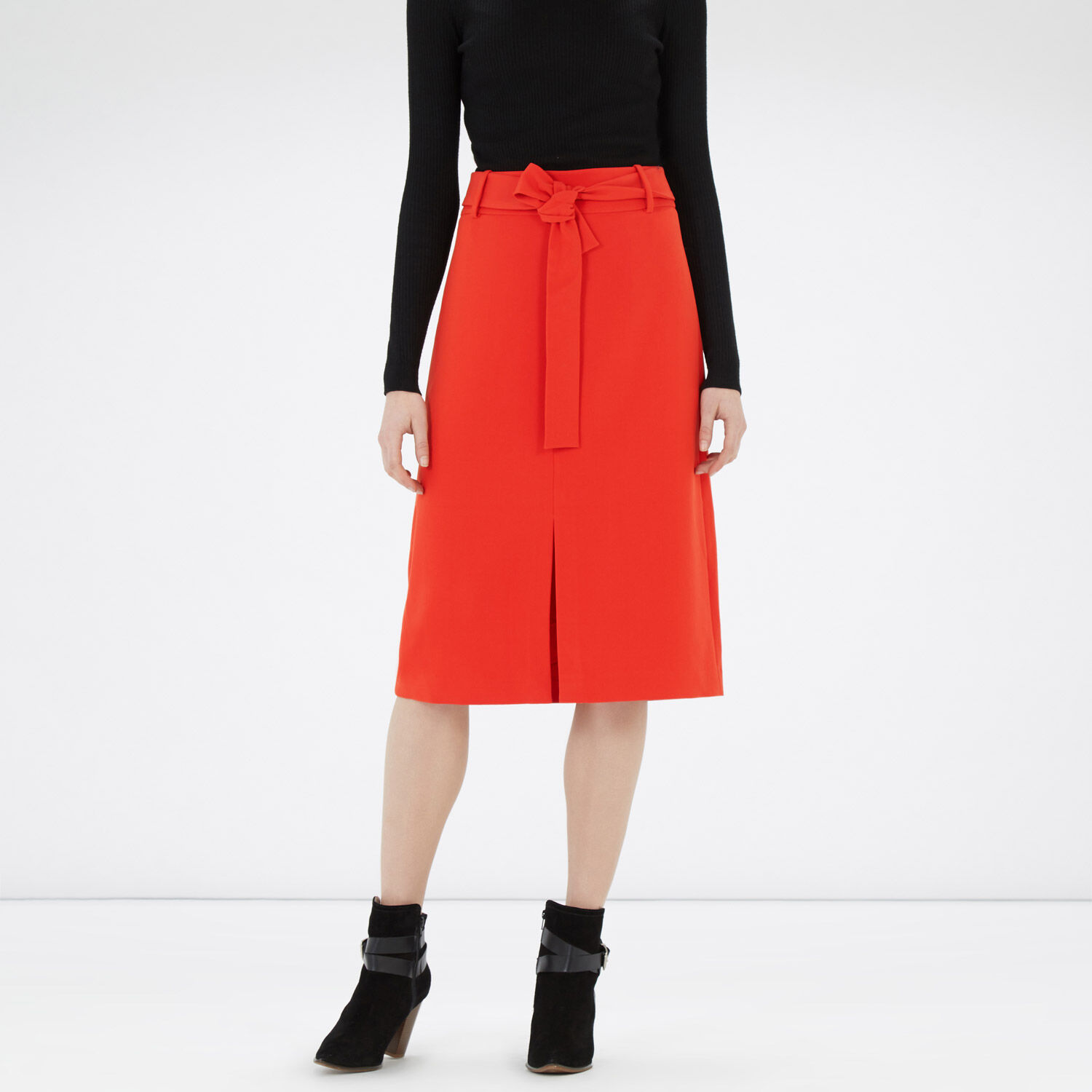 Warehouse, BELTED SKIRT Bright Red 1