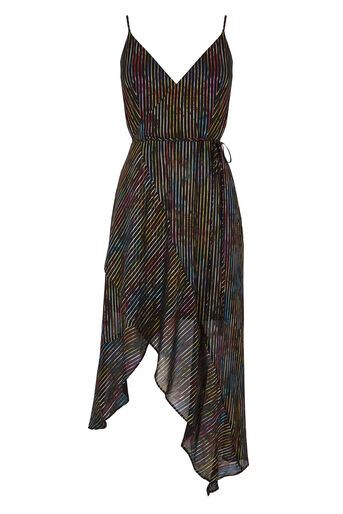 Warehouse, RAINBOW SHIMMER STRIPE DRESS Black Pattern 0