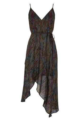 Warehouse, Jurk met kleurrijke glanzende strepen Zwart met patroon 0