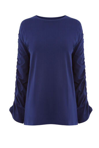 Warehouse, RUCHE LONG SLEEVE TOP Navy 0