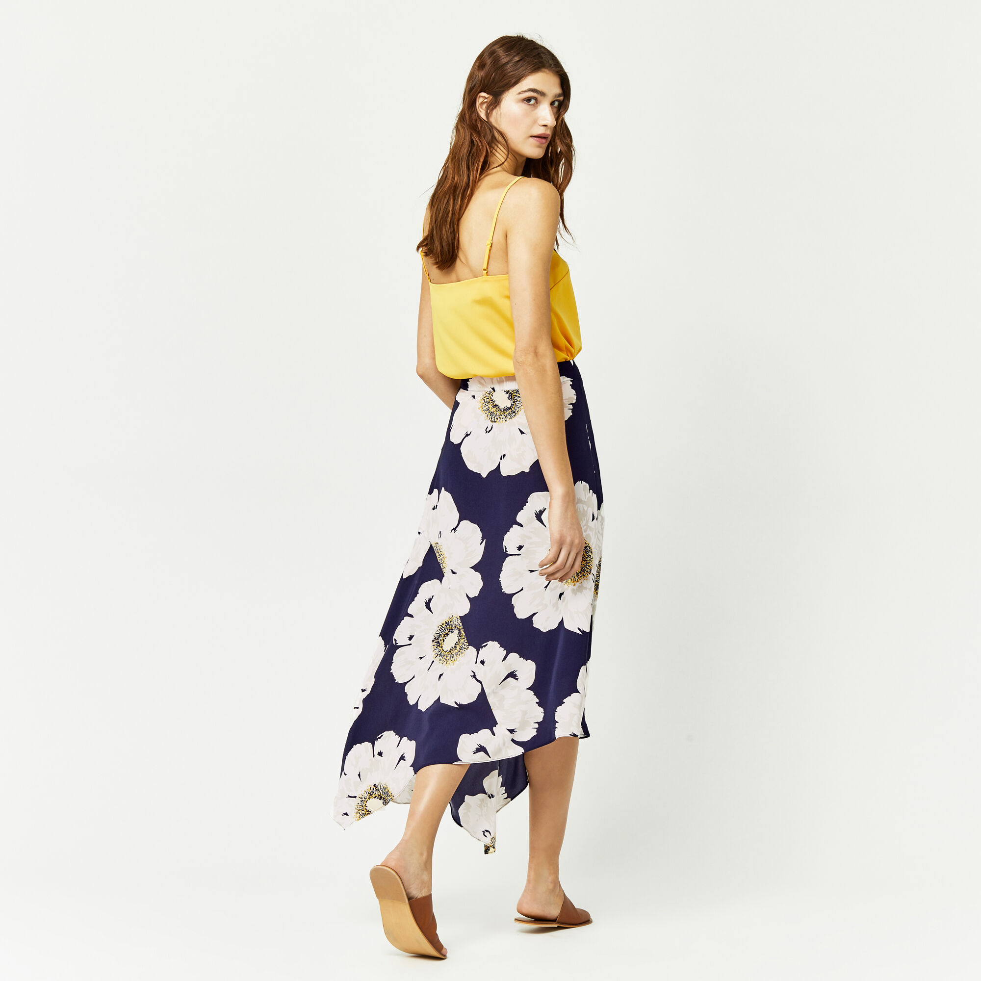 Warehouse, MELODY FLORAL SKIRT Blue Pattern 1