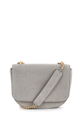Warehouse, CHAIN DETAIL SUEDE SADDLE BAG Light Grey 0