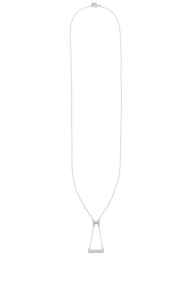 Warehouse, DOUBLE BAR DROP NECKLACE Silver Colour 0