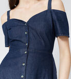 Warehouse, Sweetheart Cut-out Denim Dress Mid Wash Denim 4
