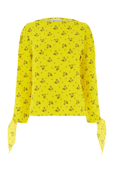 Warehouse, DAISY BUNCH TIE SLEEVE TOP Yellow 0