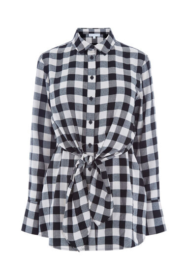 Warehouse, GINGHAM TIE FRONT SHIRT Black Pattern 0