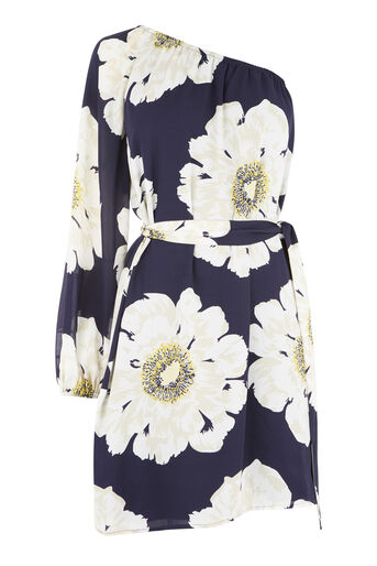 Warehouse, MELODY ONE SHOULDER DRESS Blue Pattern 0