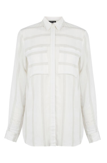 Warehouse, Relaxed Textured Stripe Shirt Neutral Stripe 0