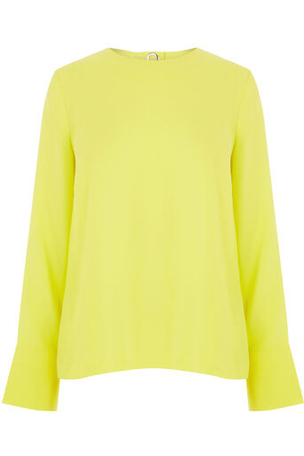 Warehouse, EYELET DETAIL TOP Yellow 0