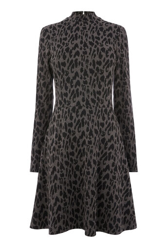 Warehouse, LEOPARD JACQUARD POLO DRESS Grey Pattern 0