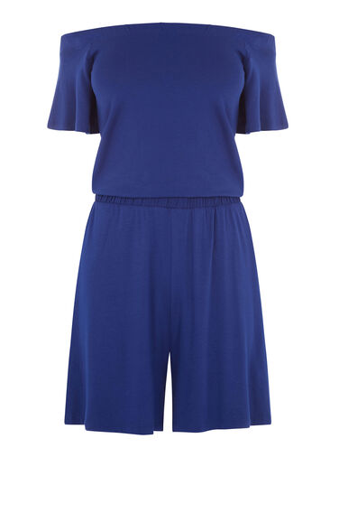 Warehouse, OFF SHOULDER PLAYSUIT Bright Blue 0