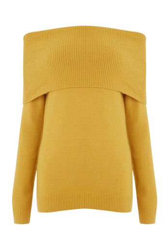Warehouse, SOFT DEEP BARDOT JUMPER Mustard 0
