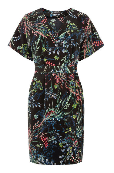 Warehouse, Meadow Floral Wrap Dress Black Pattern 0