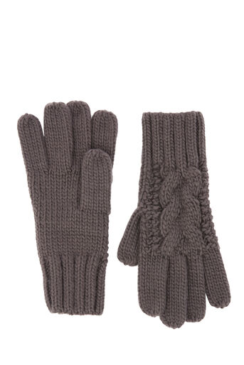 Warehouse, CABLE KNIT GLOVE Dark Grey 0