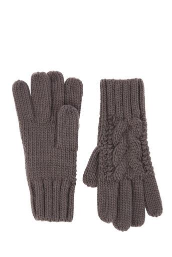 Warehouse, Kabelgebreide handschoenen Donkergrijs 0
