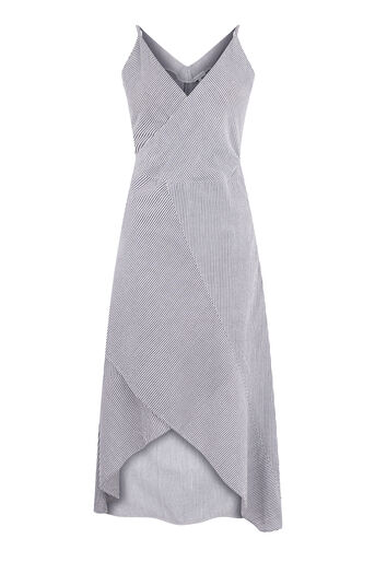 Warehouse, STRIPE RUFFLE MIDI DRESS Grey Stripe 0