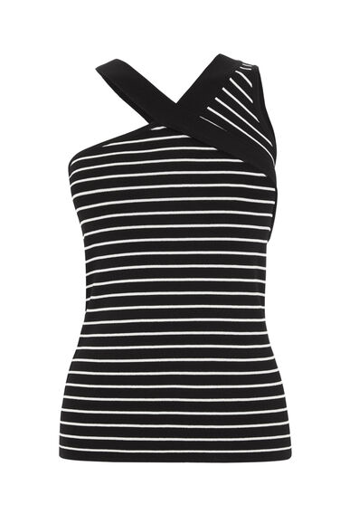 Warehouse, STRIPE ASYMMETRIC STRAP TOP Black Stripe 0