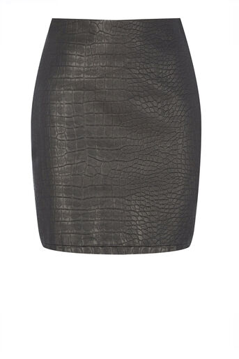 Warehouse, Croc Faux Leather Skirt Black 0
