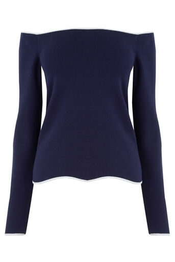 Warehouse, WAVY BARDOT TOP Navy 0