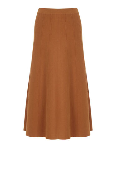 Warehouse, FIT AND FLARE SKIRT Tan 0