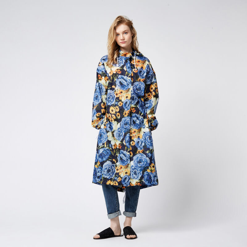 Warehouse, Peony Pop Windbreaker Blue Pattern 1