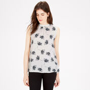 Warehouse, STENCIL FLORAL TIE BACK TOP Cream 1