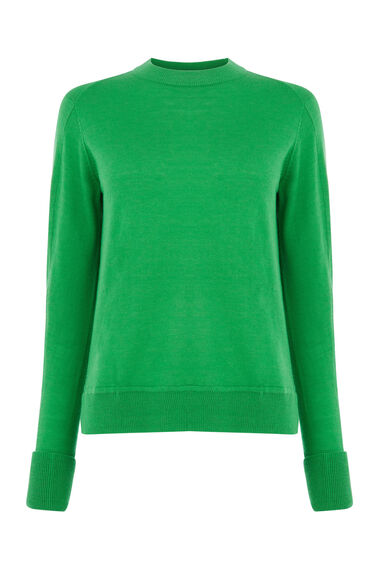 Warehouse, BOXY CREW JUMPER Bright Green 0