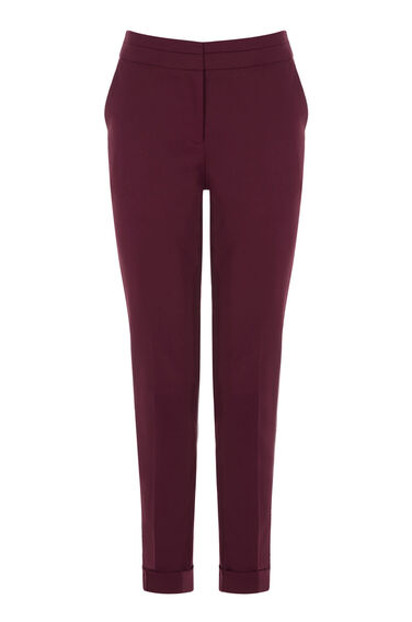 Warehouse, COMPACT COTTON TROUSERS Dark Red 0
