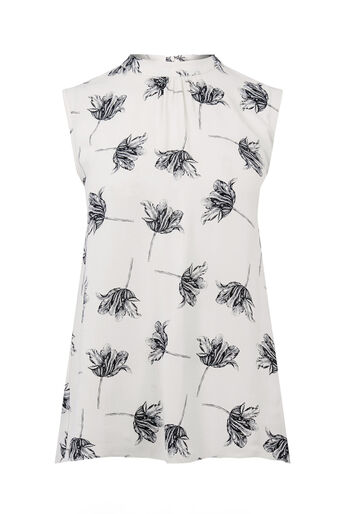 Warehouse, STENCIL FLORAL TIE BACK TOP Cream 0