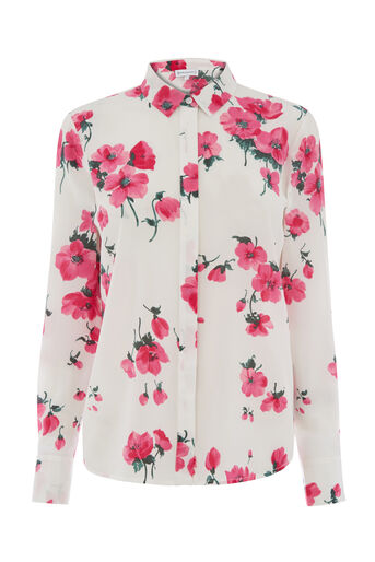 Warehouse, PREMIUM FLORAL SILK SHIRT Neutral  Print 0