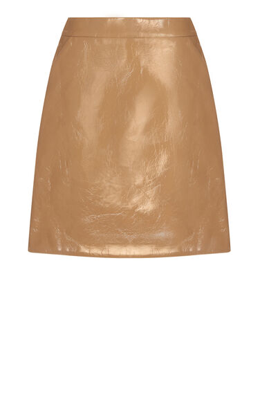 Warehouse, PATENT FAUX LEATHER SKIRT Stone 0