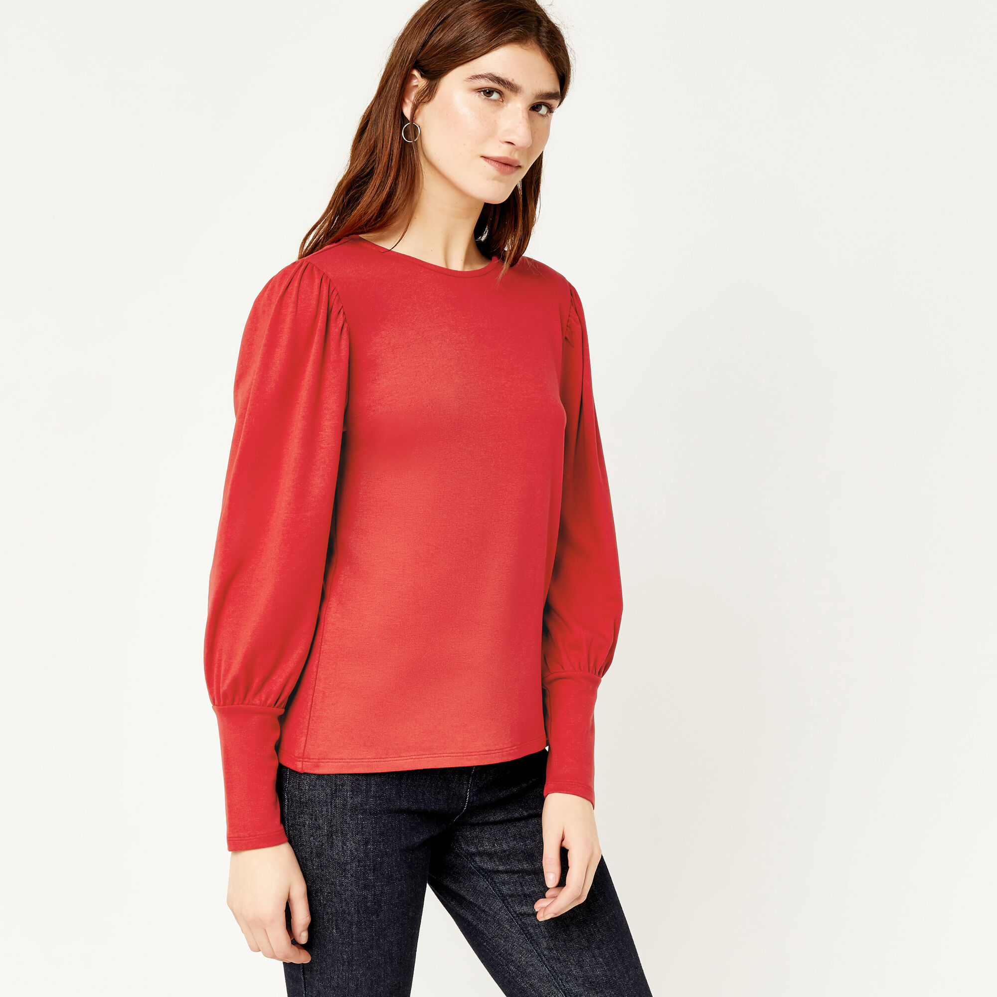 Warehouse, PUFF LONG SLEEVE TOP Bright Red 1