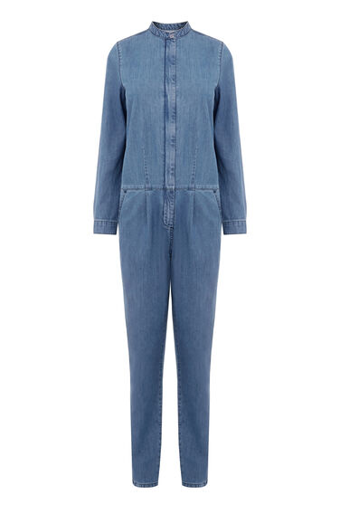 Warehouse, Denim Rinse Jumpsuit Mid Wash Denim 0