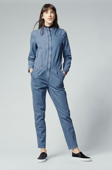 Warehouse, Denim Rinse Jumpsuit Mid Wash Denim 1