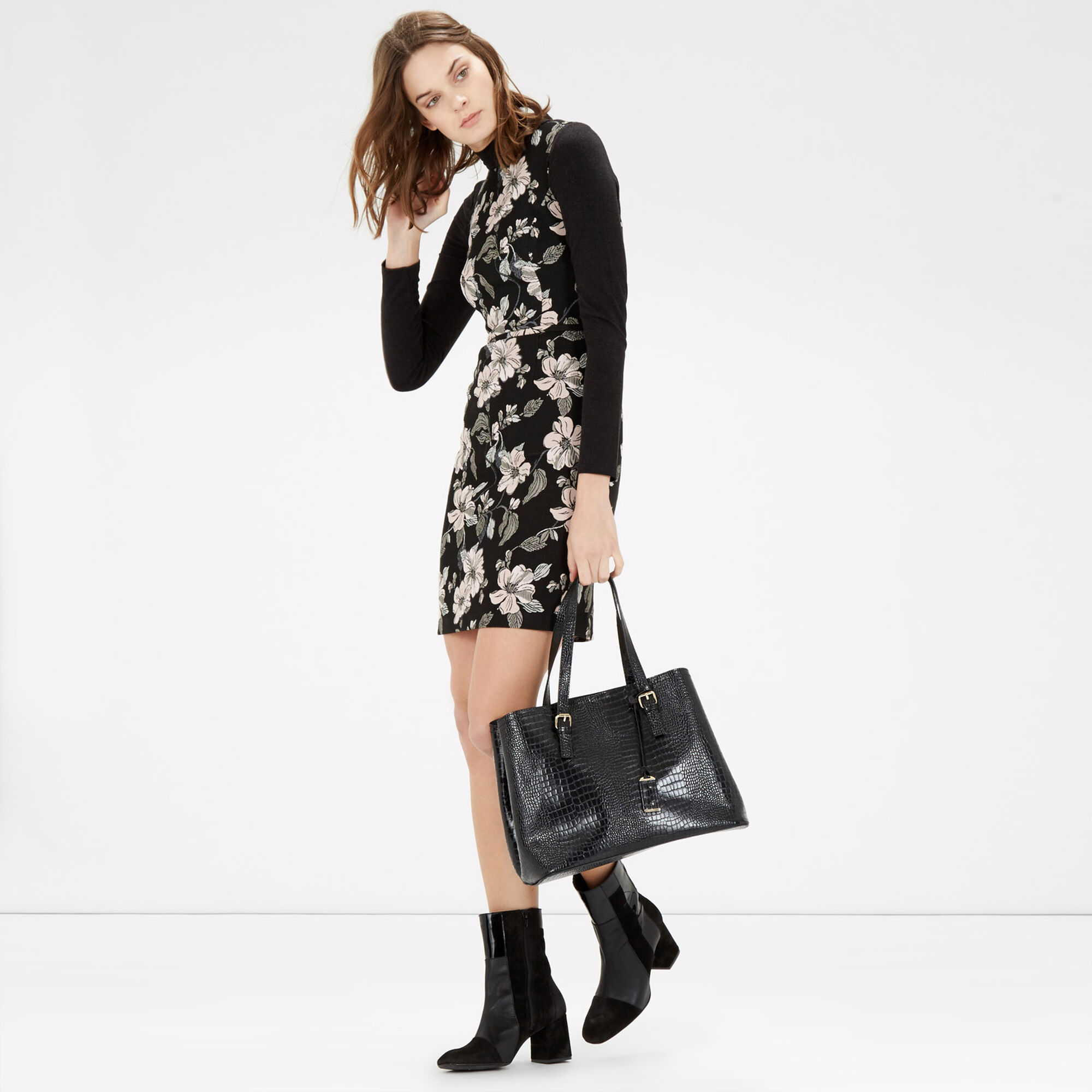 Warehouse, Double Buckle Detail Tote Bag Black Pattern 1