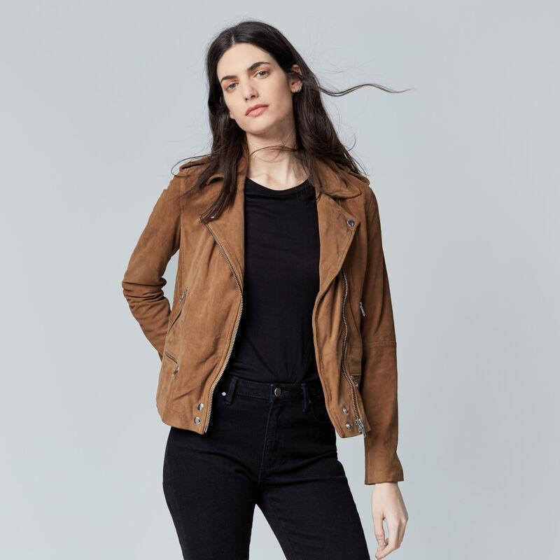 Warehouse, Suede Biker Jacket Tan 1