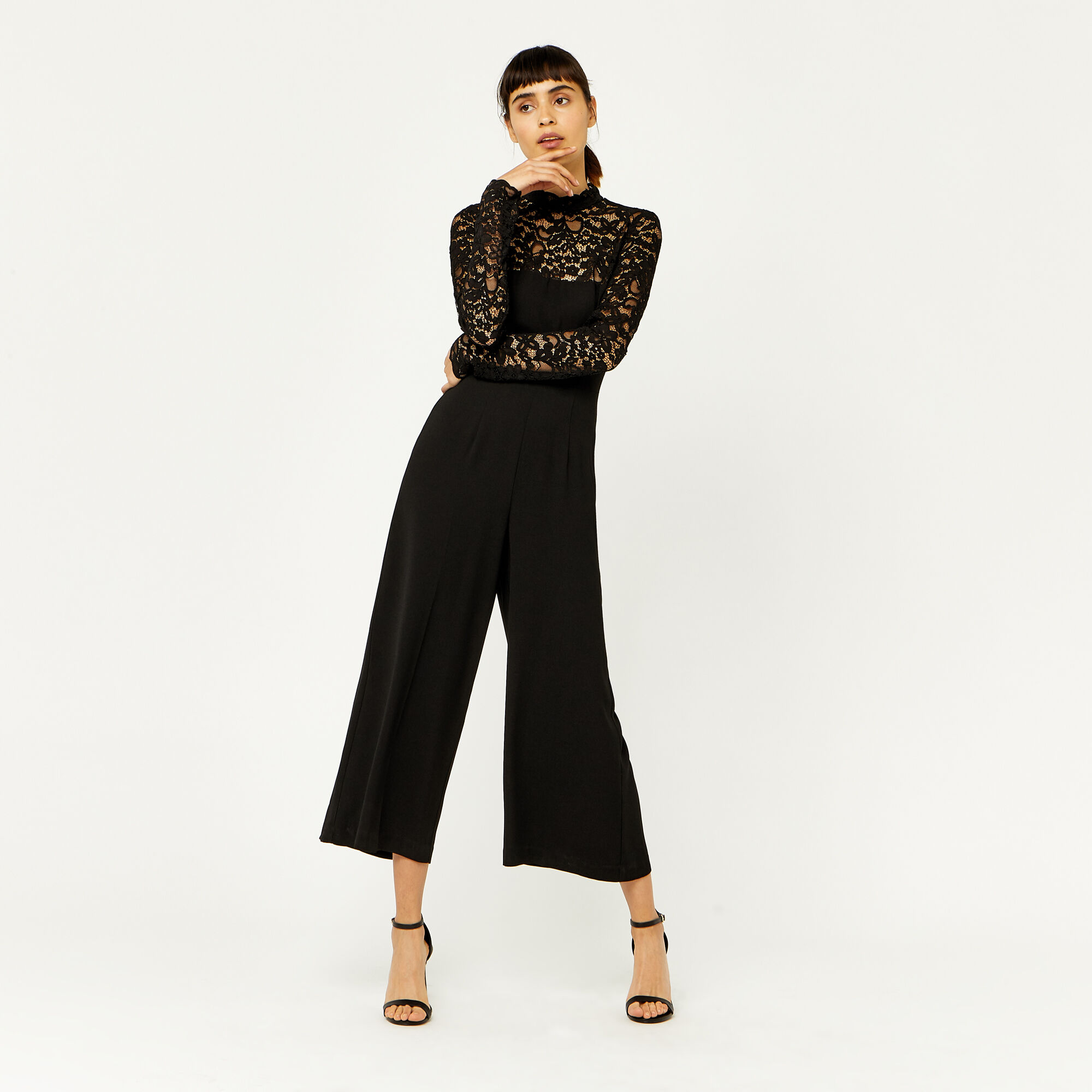 Warehouse, LACE TOP JUMPSUIT Black 1