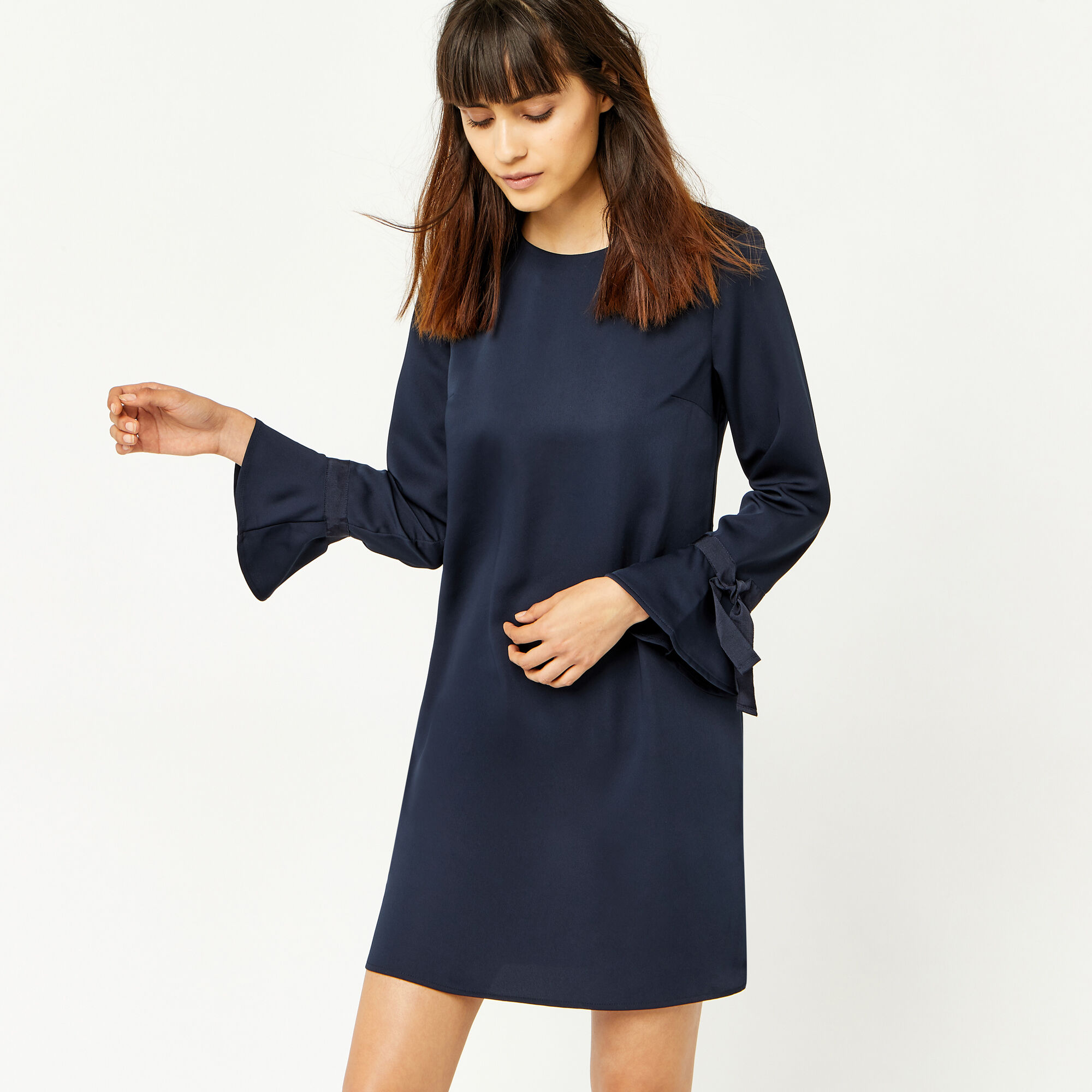 Warehouse, GROSGRAIN TIE CUFF DRESS Navy 1